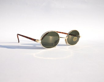 Authentic Vintage 90s Circle Sunglasses/  Oval Shades w Gold Tone Frame - NOS Dead Stock Steampunk /Grunge/Hipster