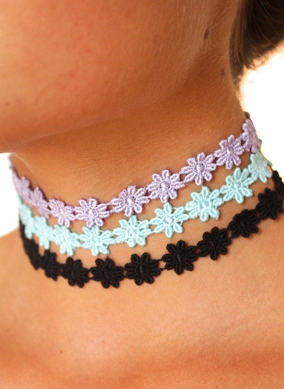 flower child choker ribbon necklace adjustable 90s tattoo