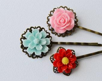Triple Vintage Bobby Pins Flower Hair Pins Bride Pins Bridesmaids Pins Perfect Gift
