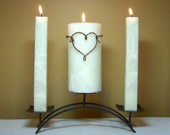 Rustic Unity Candle Set for Weddings (Stand NOT Included)