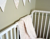 """Baby Bunting: READY TO SHIP, neutral baby bedding, 8 nursery flags from """"Oatmeal & Cream"""" cotton luxe,"""