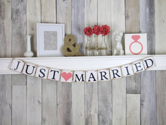Just Married Banner, Wedding Decoration, Just Married Sign, Coral Wedding Decorations