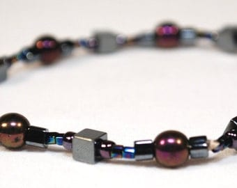 ONLY ONE LIMITED Edition Bracelet Purple Pearls & Hematite Beaded Jewelry