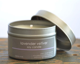 Lavender Vetiver Soy Candle Tin 4 oz. - lavender soy candle - vetiver soy candle - spa candle - relaxing candle - earthy soy candle