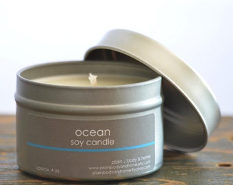 Ocean Soy Candle Tin 4 oz. - ocean soy candle - summer scent candle - fresh scent candle - salt air soy candle