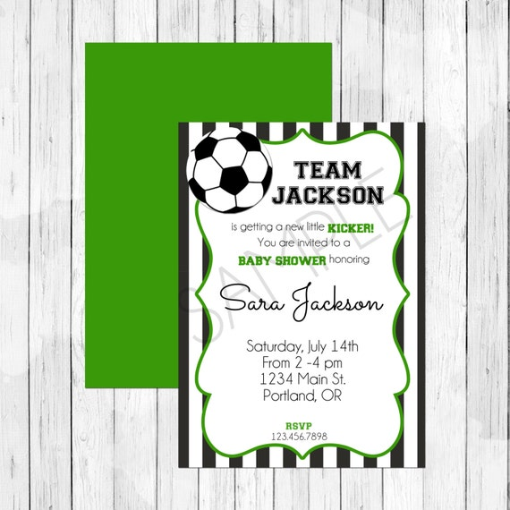 Items Similar To Soccer Theme Baby Shower Invitation Or Evite