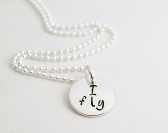 Cheerleading Gift Cheer Necklace - I Fly - I Base - I Back Cheerleading Gift Cheer Jewelry Team Cheer Gift - Hand Stamped Sterling Silver