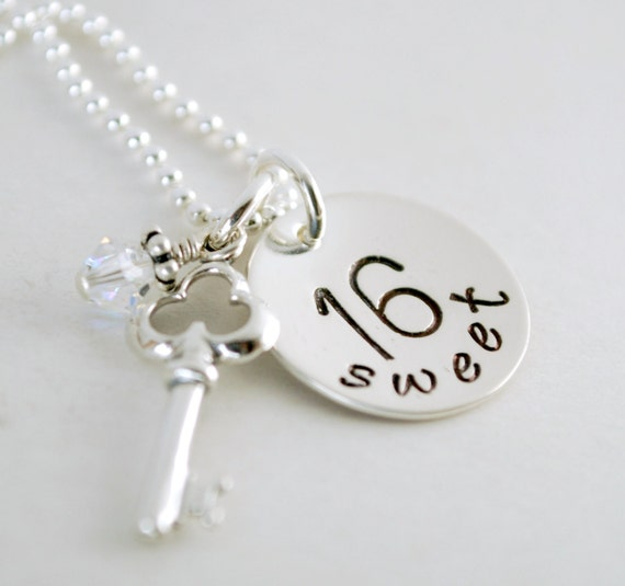 Sweet 16 Charm Bracelet: Sweet 16 Necklace With Key Charm Sweet 16 Jewelry By Studio463