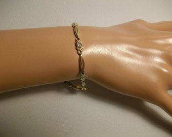 Vintage 14K Solid Rose and Yellow Gold Bracelet 6.2 Grams 8 inches