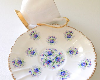 Vintage English Bone China Teacup and Saucer Duo Avon Shape Tea Party
