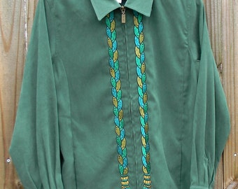 Vintage 80s M Medium Bob Mackie Wearable Art Green Embroidered Long Sleeve Front Zipper Lined Blouse or Lightweight Jacket Style Shirt