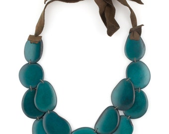 Tagua Statement Necklace / Tagua Jewelry / Tagua Necklace / Forest Green Necklace / Statement Necklace
