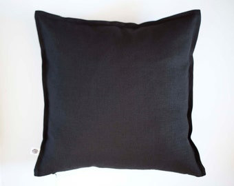 Black pillow cover for decorative pillows sewn in custom size with hidden zipper closure - linen fabric pillows 0009