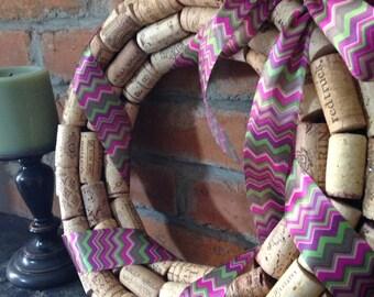 PICK YOUR PATTERN! The Original handmade wine cork wreath with ribbon