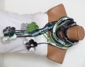 Flower scarf,Women,Crochet green and multicolor scarf,,Knitted Scarf.Loop Scarf,Neck Warmer..green crochet scarves.