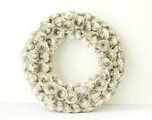 Medium Jane Austen Book Page Rosette Wreath - Upcycled Wedding & 1st Anniversary Gift - Jane Austen Home Decor