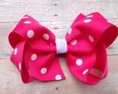 Hot pink polka dot hair bow - hot pink hair bow, 4 inch boutique bow, girls hair bows, girls bows, pink hair bows, pink bows, toddler bows