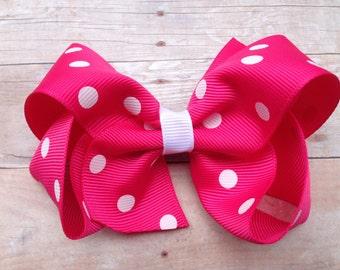 Hot pink polka dot hair bow - hot pink hair bow, 4 inch boutique bow