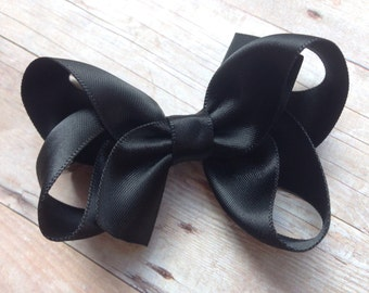 Black satin hair bow - 3 inch black bow