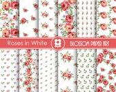 Rose Digital Paper, Rose Digital Paper Scrapbooking Pack, Roses in White, Wedding, Scrapbooking, Roses - INSTANT DOWNLOAD  - 1739