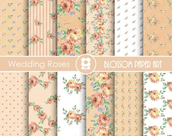 Wedding Digital Paper Floral Digital Paper Pack, Wedding Roses, Scrapbooking, Peach Roses - INSTANT DOWNLOAD -1746