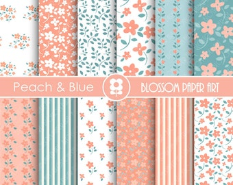 Peach Digital Paper Floral Digital Papers, Scrapbooking, Peach and Blue Baby Shower INSTANT DOWNLOAD - 1779