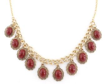 Elegant Gold-tone Red Stone Drop Statement Necklace A5