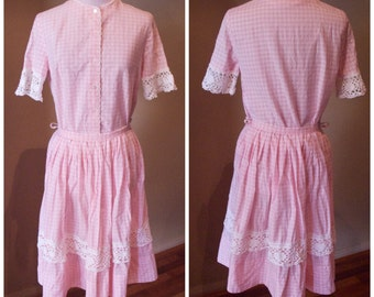 Vintage late 1950s Pink Gingham Suit - M