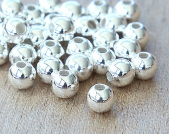 Silver Plated Round Seamed Beads, 6mm - 25 pcs - eSR03SP-6