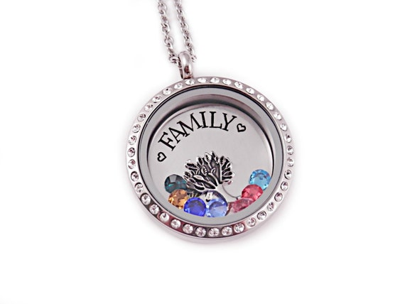 Mother s day family birthstone necklace gift for mom floating