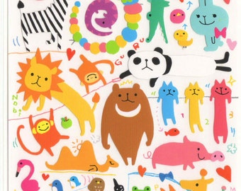 Kawaii Japan sticker Sheet Assort: Novelty Yuru BIG Animals Stickers Original Characters for Diy Decoration Schedule Book Planner R