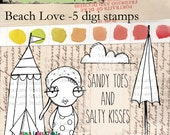 Beach love - quirky and adorable bather with beach accessories digi stamp bundle in png and jpg files.