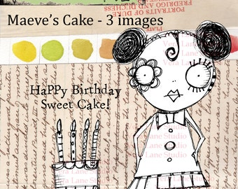 Whimsical new digi image of sassy gal and birthday cake.