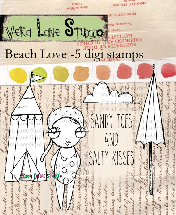 Beach love - quirky and adorable bather with beach accessories digi stamp set.