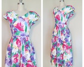 80s Lanz dress size medium / vintage floral dress