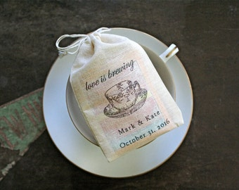 Personalized wedding favor bags, 3x4.5. Set of 50 double drawstring muslin bags.  Love is Brewing teacup with names and wedding date.