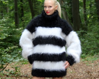 Made to order extra thick and fuzzy hand knitted with 3 strands multicolor mohair sweater by SuperTanya