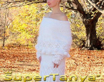 Gorgeous hand knitted bright white mohair cowlneck sweater with cables by SuperTanya