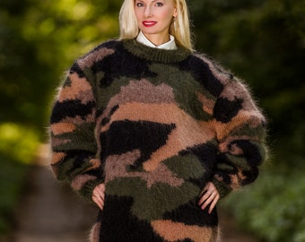Designer hand knitted mohair sweater in camouflage pattern by SuperTanya
