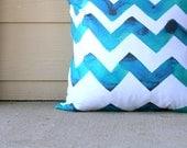 Chevron Pillow Cover 18x18 Pillow Cover, Teal Chevron, Blue Chevron, Turquoise Chevron, Original Watercolor Design by Vivian Ducas