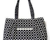 Black Retro Circles Bag, Teacher's Bag, Chevron Tote, Hobo Bag,  Laptop Bag, Bags and Purses, READY TO SHIP