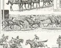 1922 Vintage horse illustration horse racing Horse art equestrian art vintage print horse racing gifts Horse decor Racing decor