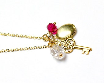 SALE Locket Necklace with Key - Ruby Birthstone Gold Key Necklace - Locket Necklace - Charm Necklace - Gold Necklace - Vintage Style Jewelry
