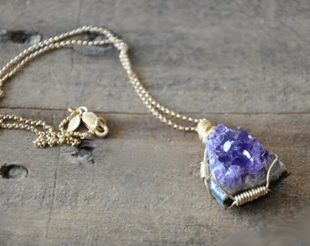 Raw Amethyst Gold Wire Wrapped Necklace