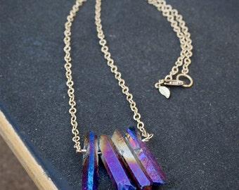 Electric Blue Iridescent Quartz Necklace