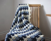 Blue Striped Crochet Afghan, 48 x 63 inches, soft acrylic yarn, cream, throw blanket hand crocheted