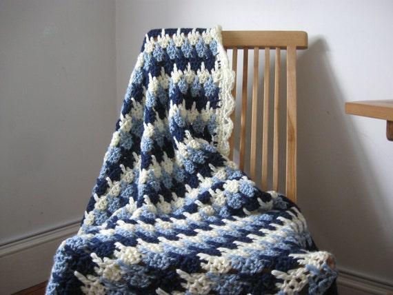 Blue Striped Crochet Afghan, 48 x 63 inches, soft acrylic yarn, cream, throw blanket hand crocheted