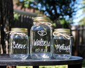 3 Jar Sand Ceremony Set, Unity Jars, Wedding Mason Jars, Personalized Jars