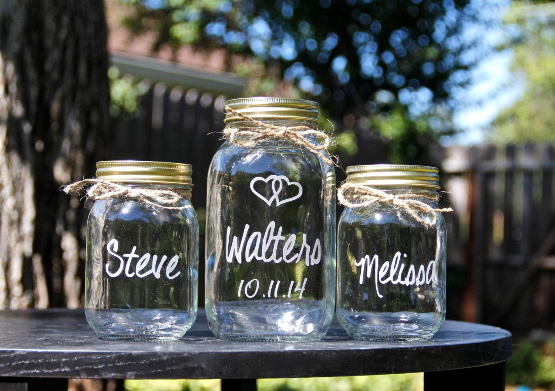 3 Jar Sand Ceremony Set Unity Jars Wedding Mason Jars