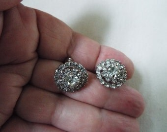 vintage clear rhinestone faceted round earrings